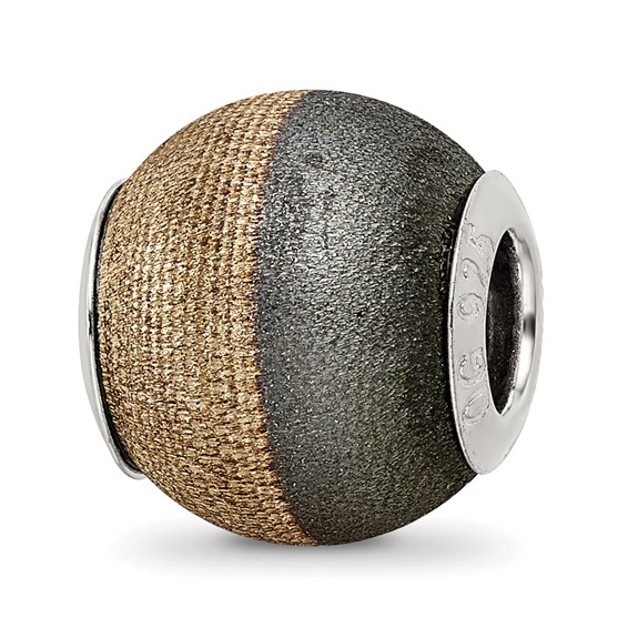 Sterling Silver Reflections Gold-plated Laser Etched Black Matte Bead