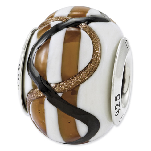 Sterling Silver Reflections White Brown Black Italian Murano Bead