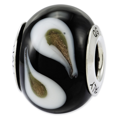 Sterling Silver Reflections Black Brown White Italian Murano Glass Bead