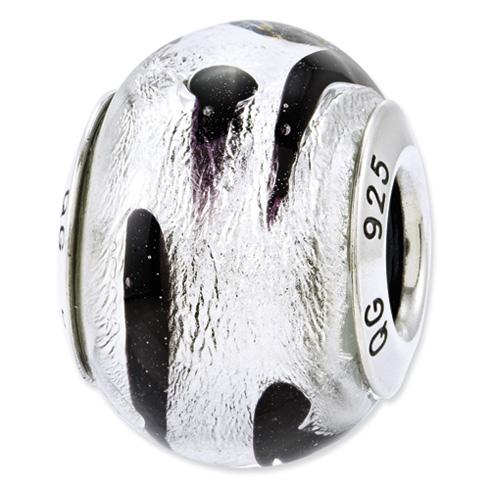 Sterling Silver Reflections Silver Black Italian Murano Glass Bead