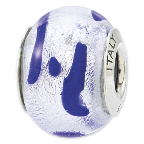 Sterling Silver Reflections Silver White Italian Murano Glass Bead