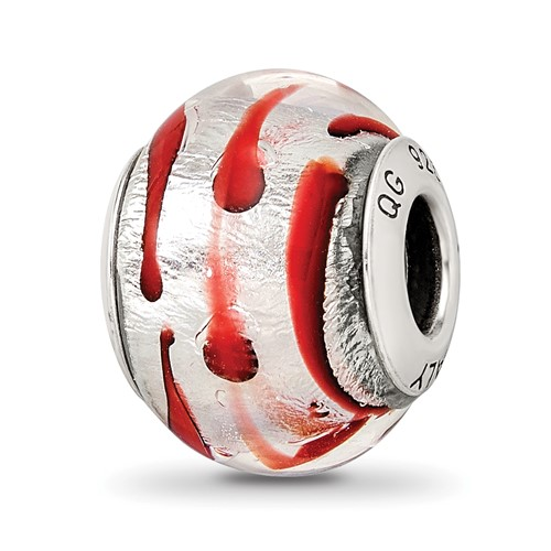 Sterling Silver Reflections Silver Red Italian Murano Bead