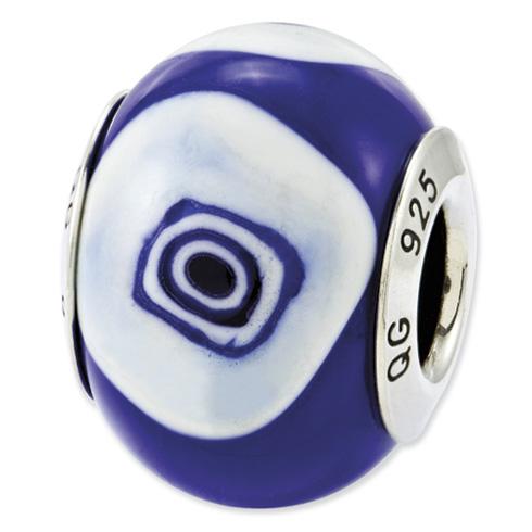 Sterling Silver Reflections Blue Light Blue Italian Murano Glass Bead