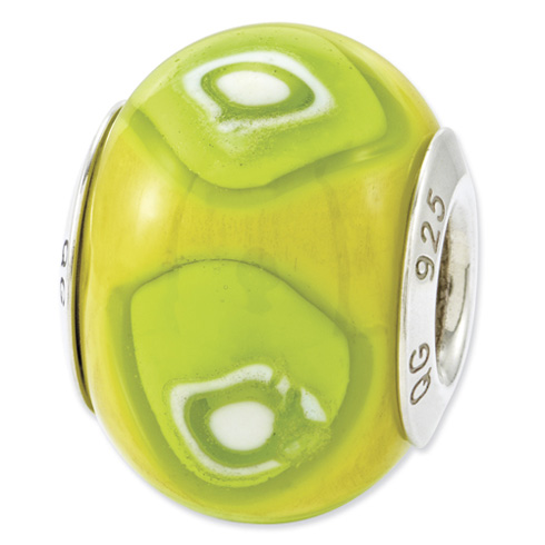 Sterling Silver Reflections Lime Green Italian Murano Glass Bead