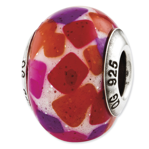 Sterling Silver Reflections Pink Purple Red Italian Murano Glass Bead