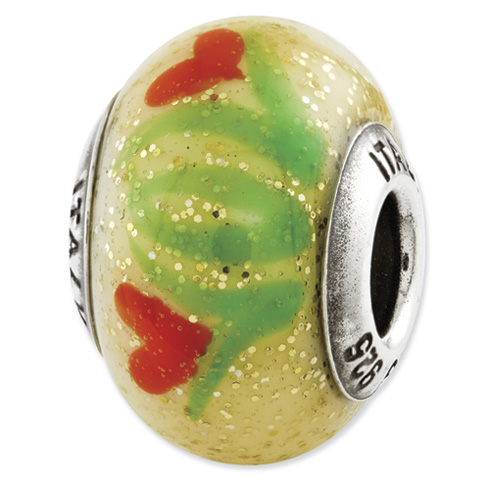 Sterling Silver Reflections Yellow with Orange Flowers Italian Murano Bead