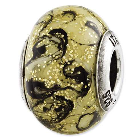 Sterling Silver Reflections Yellow with Black Swirls Italian Murano Bead
