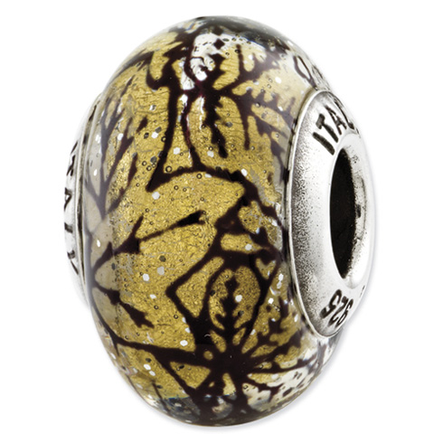 Sterling Silver Reflections Yellow with Black Lines Italian Murano Glass Bead