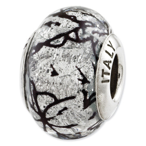 Sterling Silver Reflections Grey with Black Lines Italian Murano Glass Bead