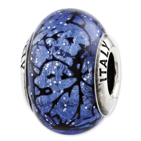 Sterling Silver Reflections Blue with Black Lines Italian Murano Glass Bead