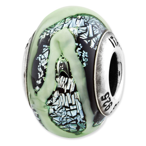 Sterling Silver Reflections Green Dichroic Italian Glass Bead