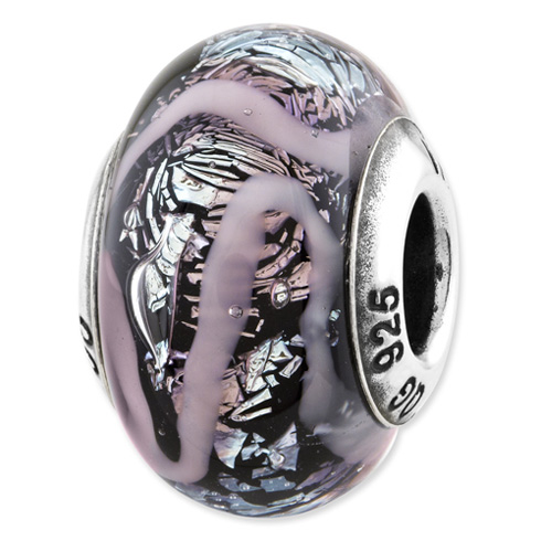 Sterling Silver Reflections Purple Italian Glass Bead