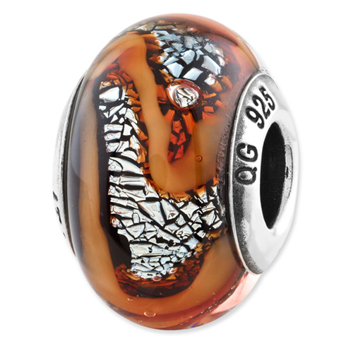 Sterling Silver Reflections Orange Italian Glass Bead