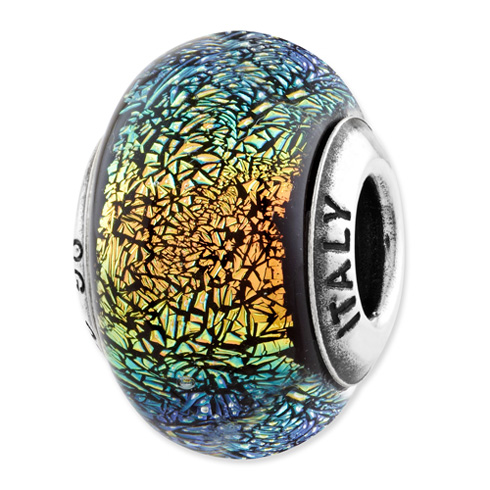 Sterling Silver Reflections Rainbow Glass Bead