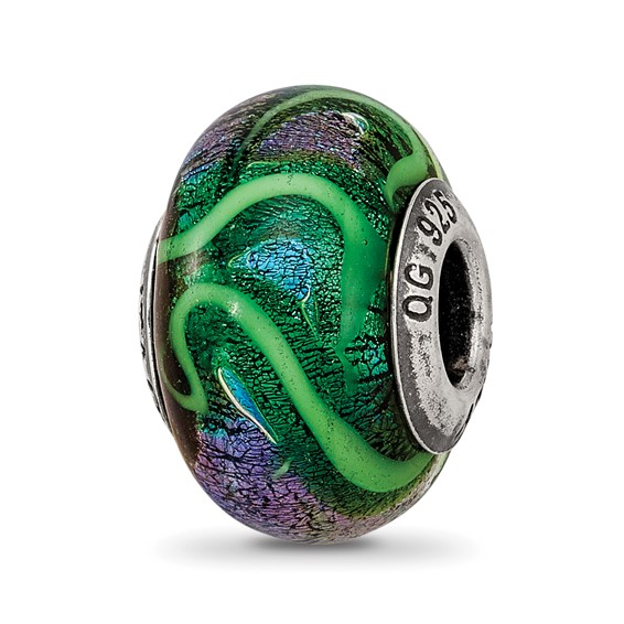 Sterling Silver Reflections Blue with Green Swirls Glass Bead