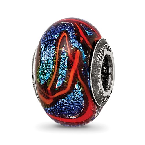 Sterling Silver Reflections Blue with Orange Swirls Glass Bead