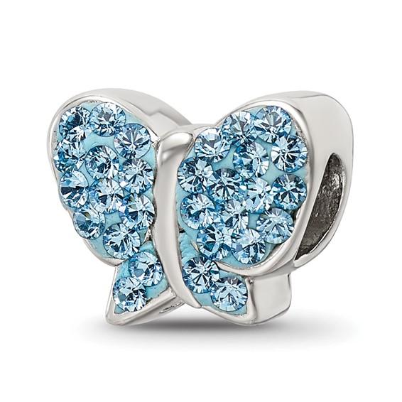 Sterling Silver Reflections Blue Swarovski Butterfly Bead