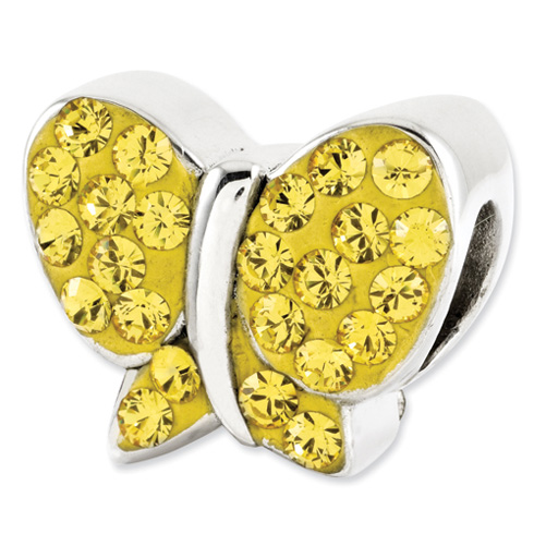Sterling Silver Reflections Yellow Swarovski Butterfly Bead
