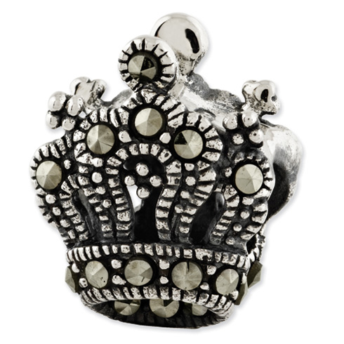 Sterling Silver Reflections Marcasite Crown Bead