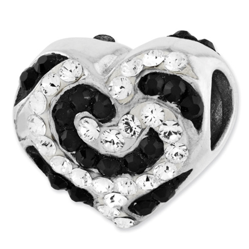 Sterling Silver Reflections Black and White Swarovski Elements Bead