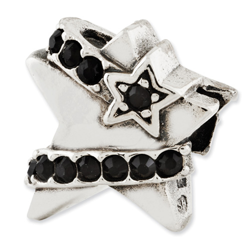 Sterling Silver Reflections Star with Black Swarovski Elements Bead