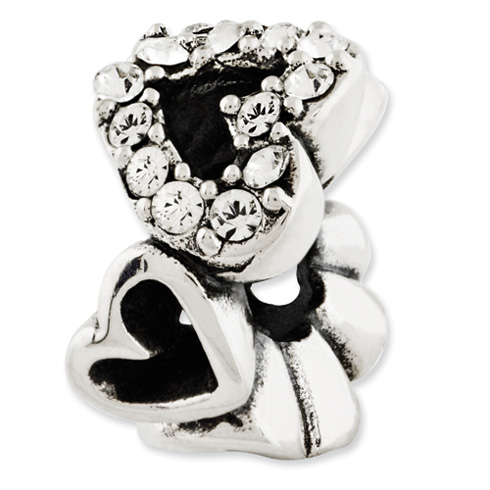 Sterling Silver Reflections Swarovski Elements Hearts Bead
