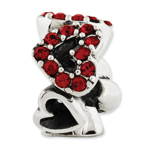 Sterling Silver Reflections Red Swarovski Elements Hearts Bead