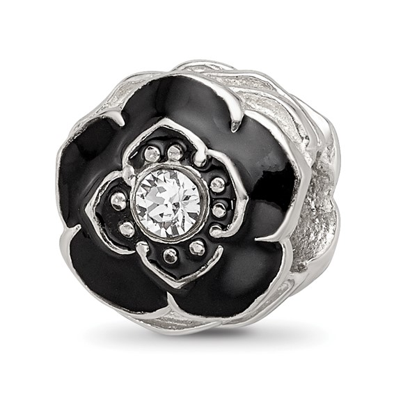 Sterling Silver Reflections Black Flower with Swarovski Elements Bead