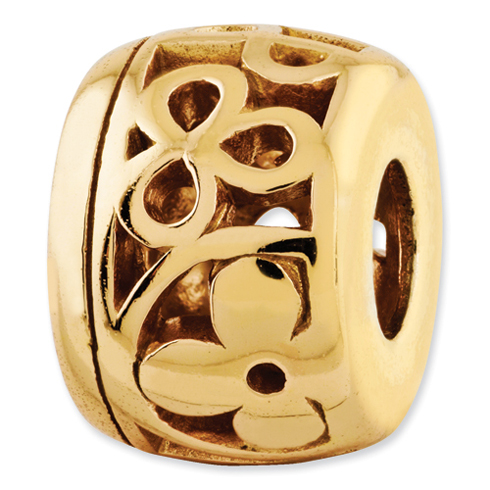Sterling Silver Reflections Gold-plated Flowers Bead