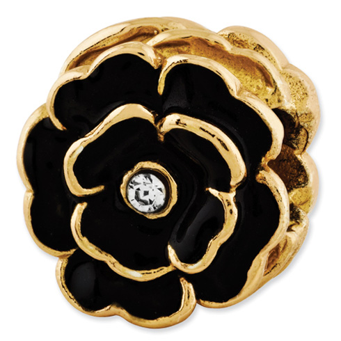 Sterling Silver Reflections Gold-plated Flower with Swarovski Elements Bead