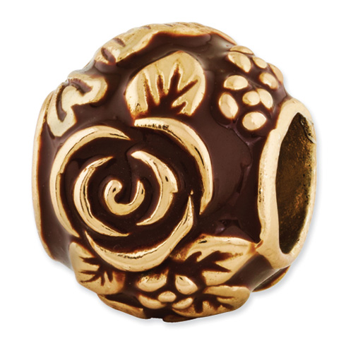 Sterling Silver Reflections Gold-plated Enameled Floral Bead