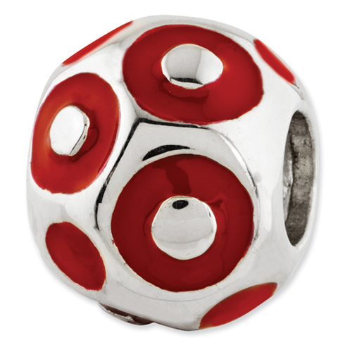 Sterling Silver Reflections Red Enameled Dots Bali Bead