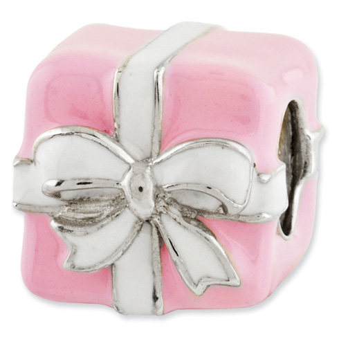 Sterling Silver Reflections Pink and White Enameled Present Bead