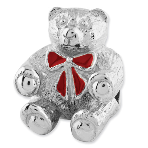 Sterling Silver Reflections Bear with Enameled Bow Bead