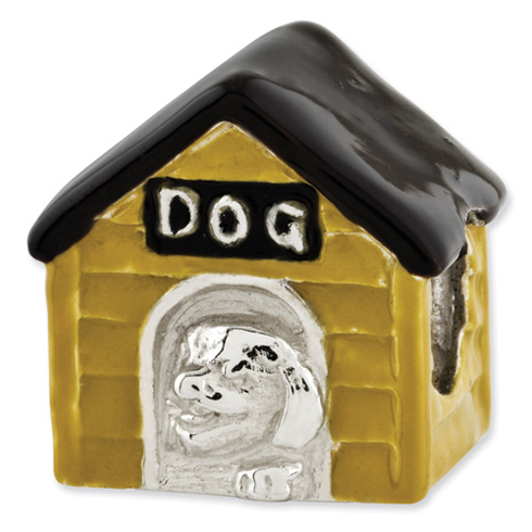 Sterling Silver Reflections Enameled Dog House Bead