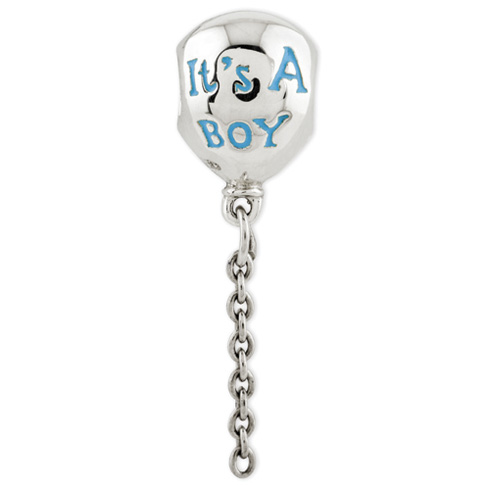 Sterling Silver Reflections Enameled Its a Boy Balloon Bead