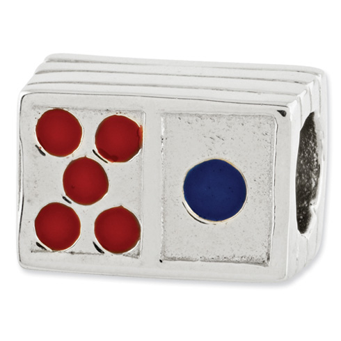 Sterling Silver Reflections Enameled Domino Bead