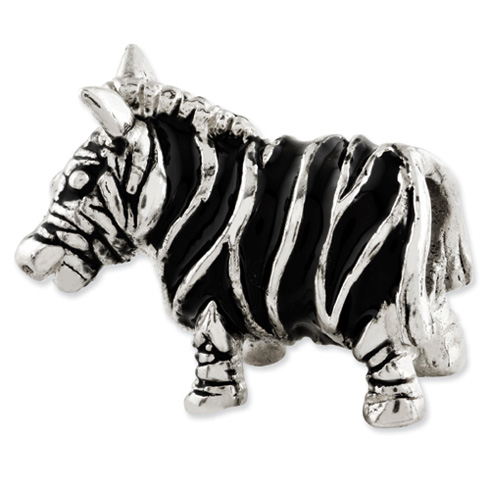 Sterling Silver Reflections Enameled Zebra Bead