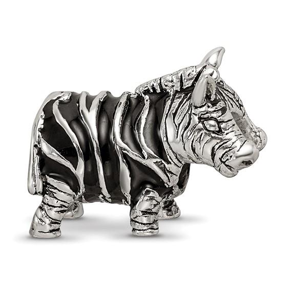 Sterling Silver Reflections Enameled Zebra Bead
