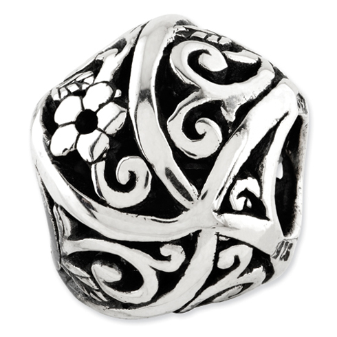 Sterling Silver Reflections Flowers Vines Bali Bead