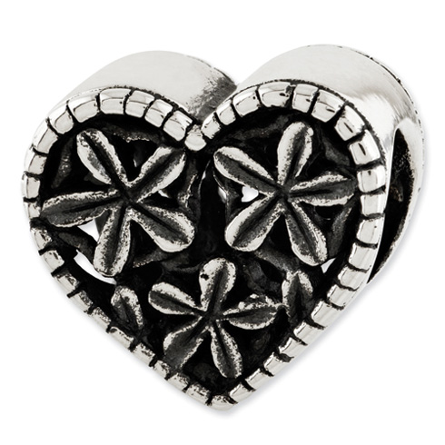 Sterling Silver Reflections Heart with Flowers Bead