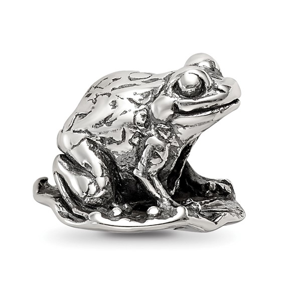 Sterling Silver Reflections Frog on Lily Pad Bead