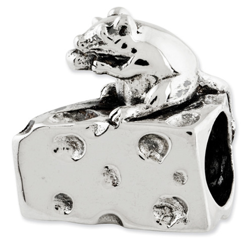 Sterling Silver Reflections Mouse on Cheese Bead