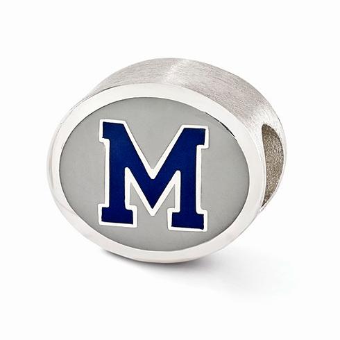 Sterling Silver Enameled University of Memphis Bead