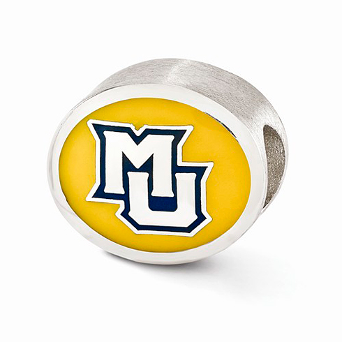 Sterling Silver Enameled Marquette University Bead