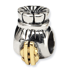 Sterling Silver & 14k Reflections Money Bag Bead