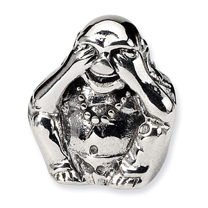 Sterling Silver Reflections See No Evil Buddha Bead