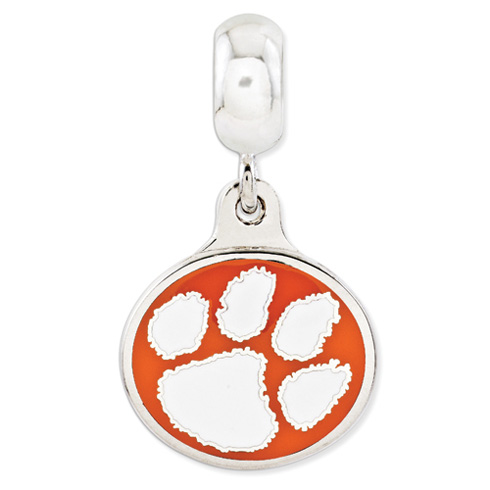 Sterling Silver Clemson University Paw Dangle Bead