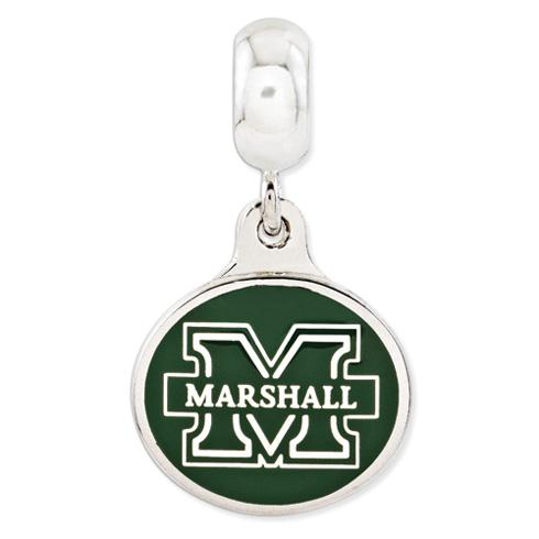 Sterling Silver Marshall University Dangle Bead
