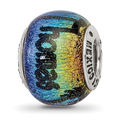 Sterling Silver Reflections St Thomas Orange Dichroic Glass Bead